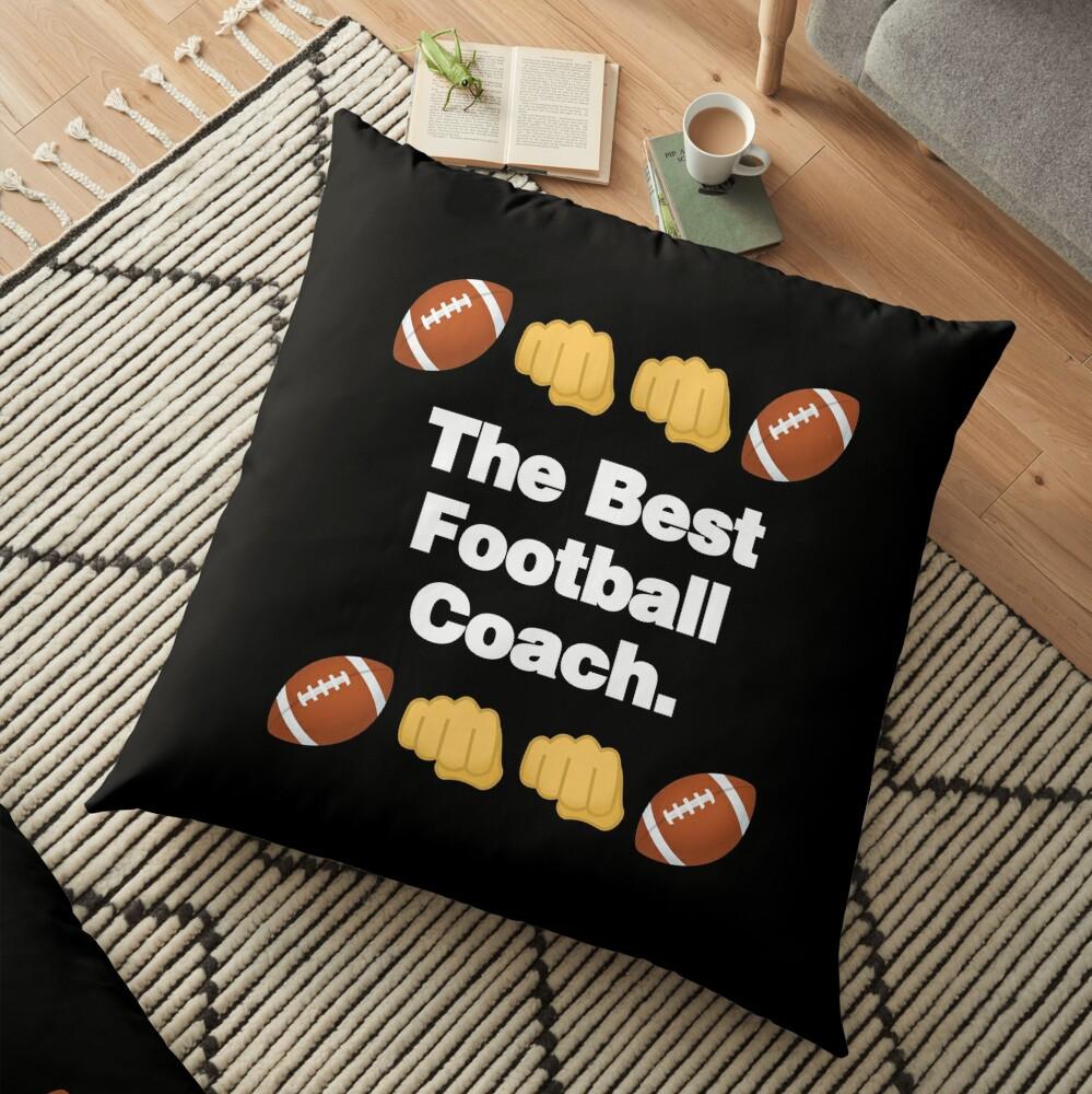 The Best Football Coach Emoji American Football Saying Floor Pillow