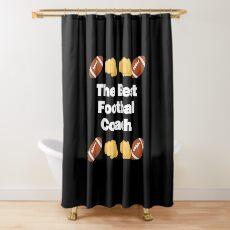 The Best Football Coach Emoji American Football Saying Shower Curtain
