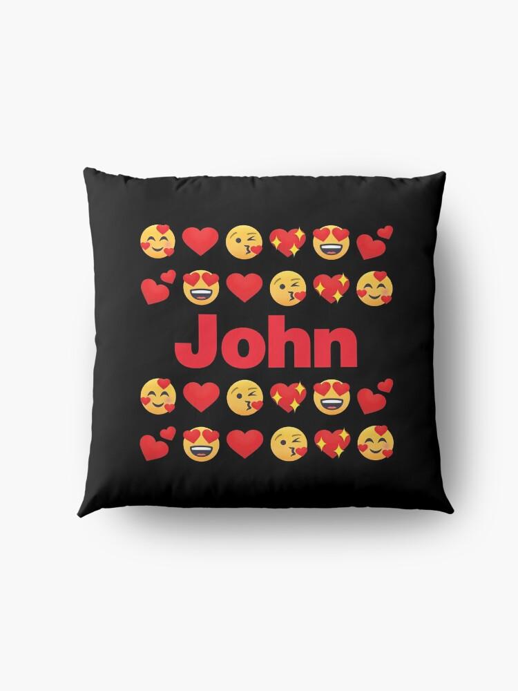 Alternate view of John Emoji My Love for Valentines day Floor Pillow
