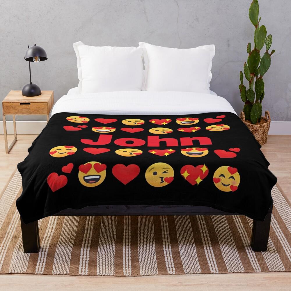 John Emoji My Love for Valentines day Throw Blanket