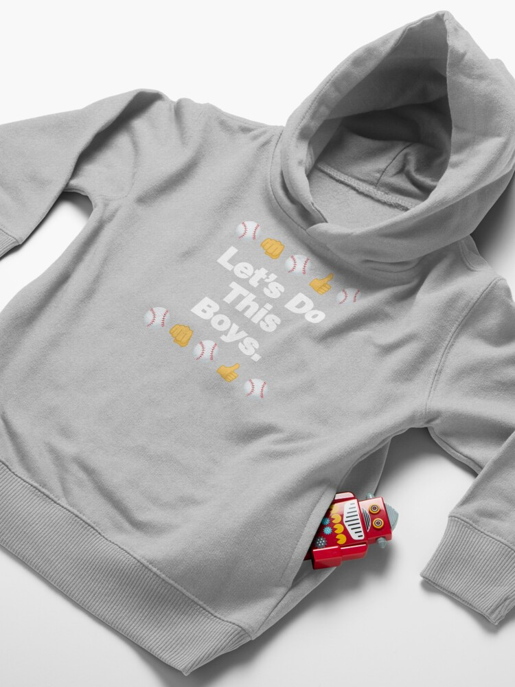 Alternate view of Lets Do This Boys Emoji Funny Baseball Saying Toddler Pullover Hoodie