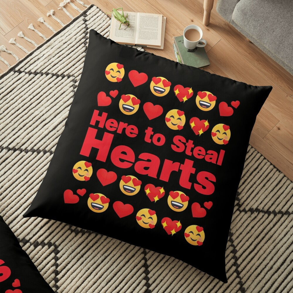 Here to Steal Hearts Emoji Lovely Valentines saying Floor Pillow