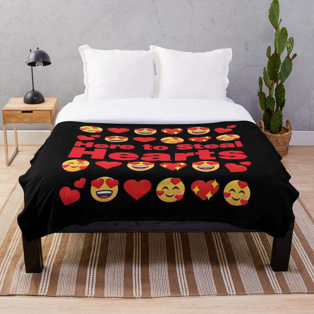 Here to Steal Hearts Emoji Lovely Valentines saying Throw Blanket