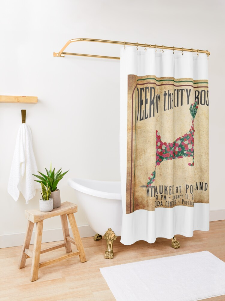Alternate view of Deer for the City of Roses Shower Curtain
