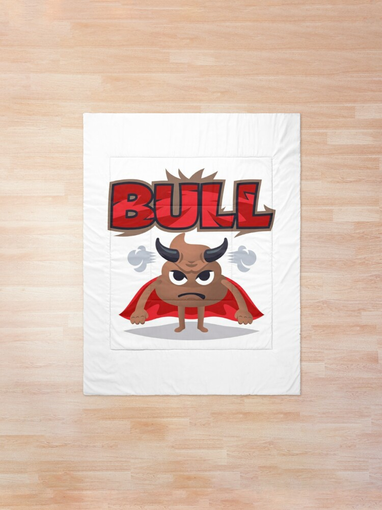 Alternate view of Bull Poo Emoji Funny Cartoon Animal Comforter