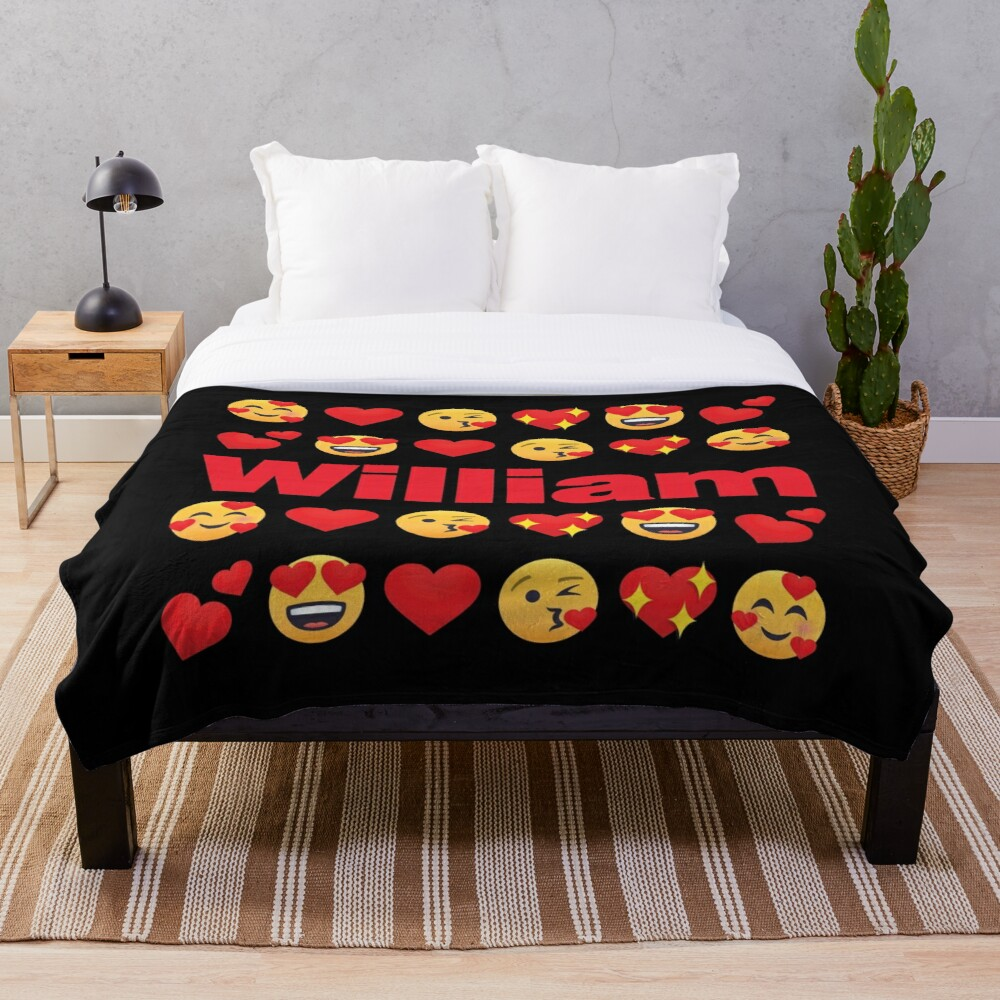 William Emoji My Love for Valentines day Throw Blanket