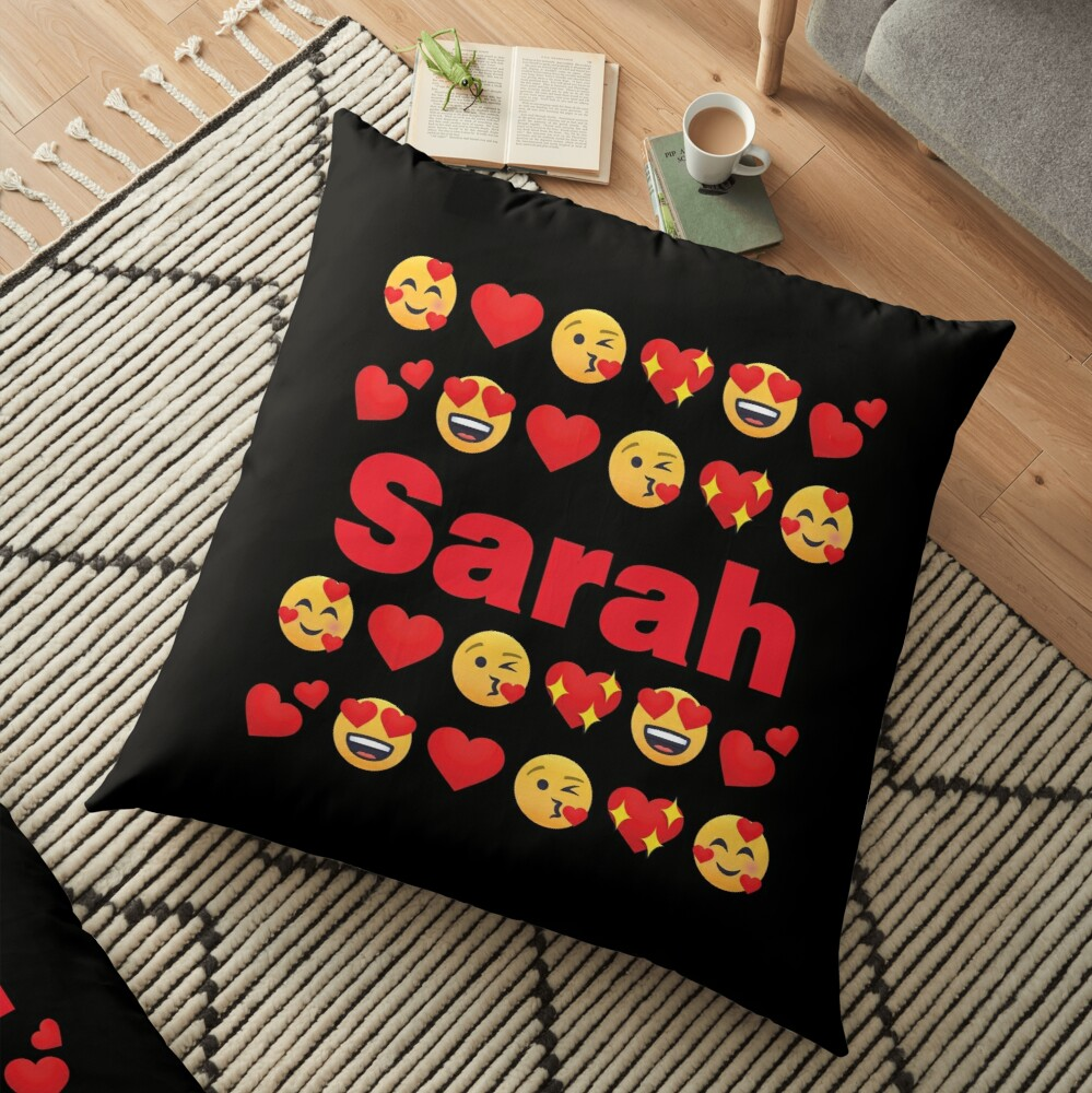 Sarah Emoji My Love for Valentines day Floor Pillow