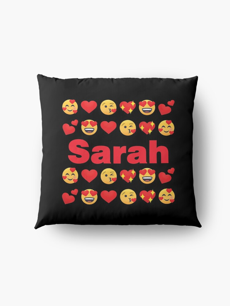 Alternate view of Sarah Emoji My Love for Valentines day Floor Pillow