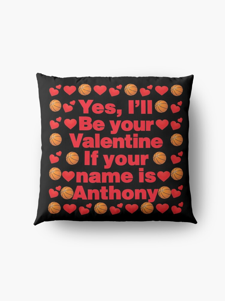 Alternate view of Basketball Emoji Be Your Valentine if your Name is Anthony Floor Pillow
