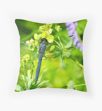 Slaty Skimmer Dragonfly Throw Pillow