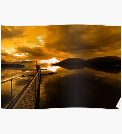 Sunset at Lake Te Anau. South Island, New Zealand. (3)  Poster