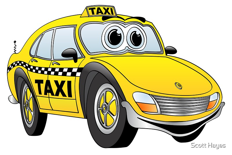 Taxi Cab Car Cartoon Greeting Cards By Graphxpro Redbubble