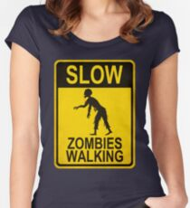 Slow Zombies Walking Women's Fitted Scoop T-Shirt