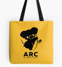 Katie the ARC Koala - we are working hard for you little one - in yellow Tote Bag