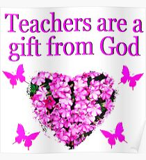 PRETTY PINK FLORAL TEACHERS DESIGN Poster