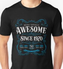 50th Birthday Gift Awesome Since 1970 Slim Fit T-Shirt