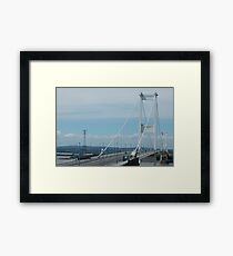 """River Severn Bridge with Overhead Line Crossing Tower in the Background"" Framed Print"
