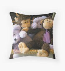 """Basket of Monkeys & Bears, Oh My"" Throw Pillow"