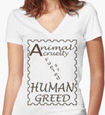 Animal Cruelty Women's Fitted V-Neck T-Shirt