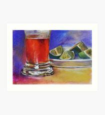 Beer Glass & Lemons 2 Art Print