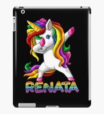 Renata Name Rainbow Text -  Renata Dabbing Unicorn Gift For Renata iPad Case/Skin