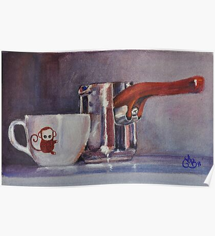 "Espresso Art Original Pastel ""Sweet Maria's Monkey Cup & Pitcher""  by MBurton. Poster"
