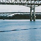 Marquam and Ross Island Bridges, Willamette River. Portland, Oregon. by Christina Weber