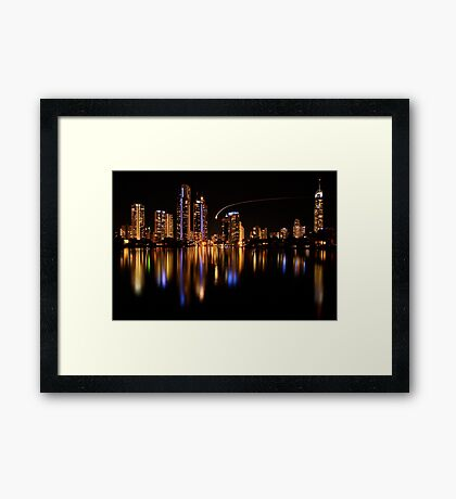 Surfers Reflections II - The Fly By Framed Print