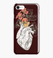 drawing Human heart with flowers iPhone Case/Skin