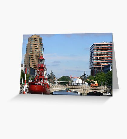 lighthouse boat Greeting Card