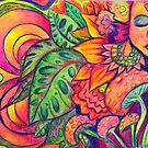 Psychedelic Goddess Tropical Garden by Candace Byington