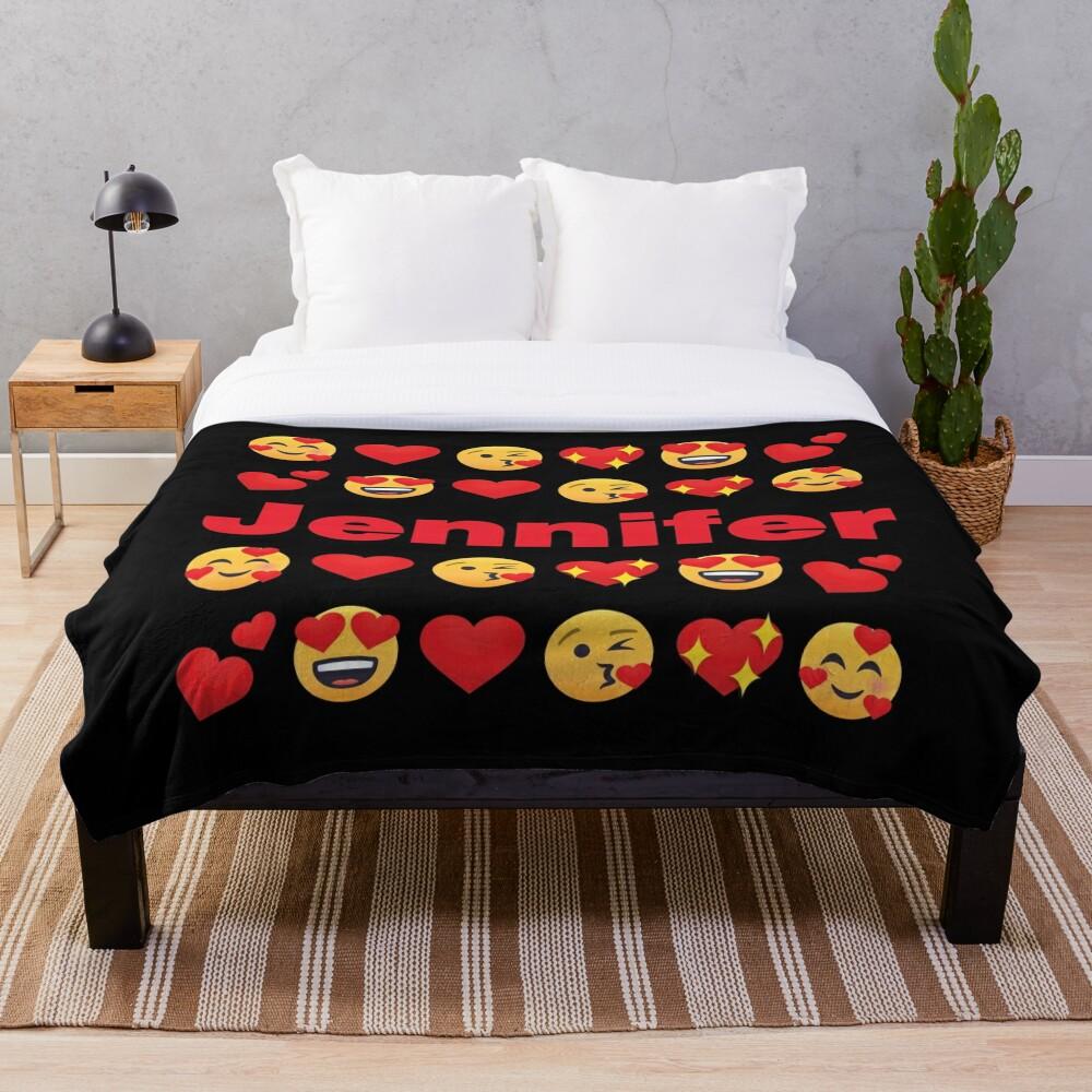 Jennifer Emoji My Love for Valentines day Throw Blanket