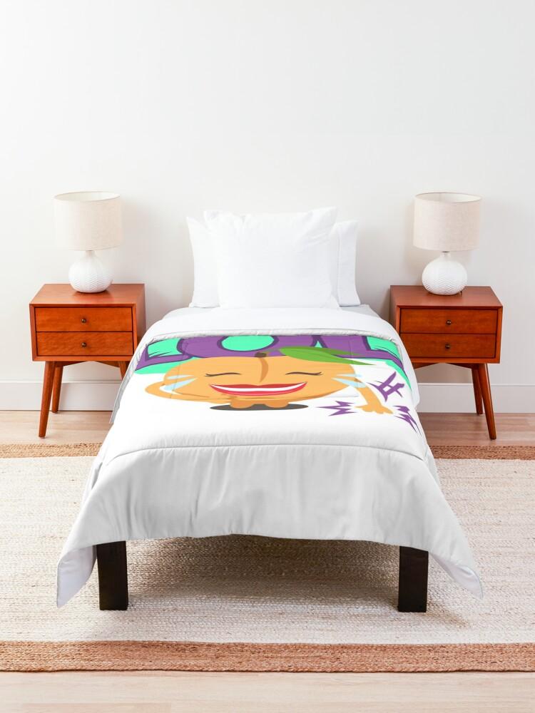 Alternate view of LOL Peach Emoji Cute Cartoon Laughing Comforter
