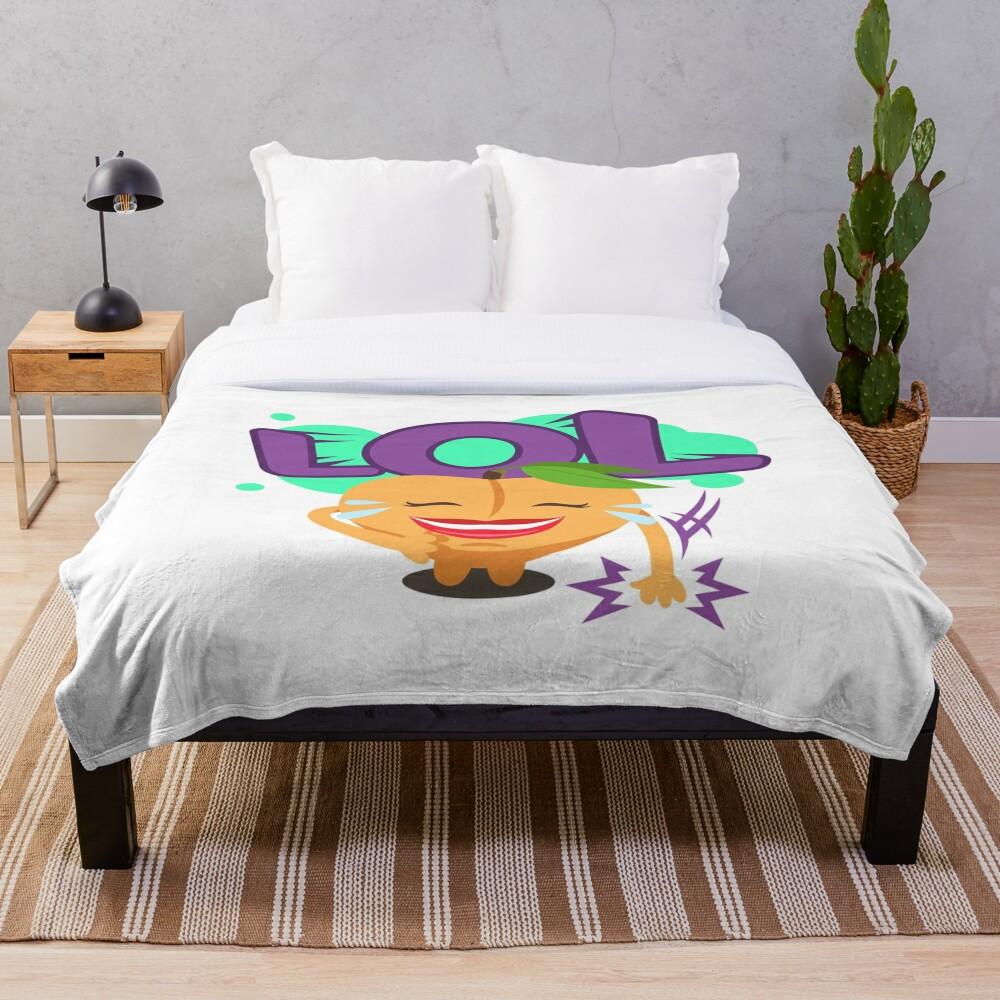 LOL Peach Emoji Cute Cartoon Laughing Throw Blanket