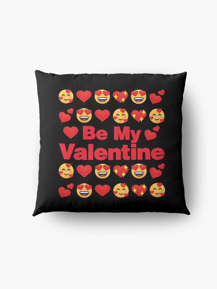 Alternate view of Be My Valentine Emoji Lovely Valentines saying Floor Pillow
