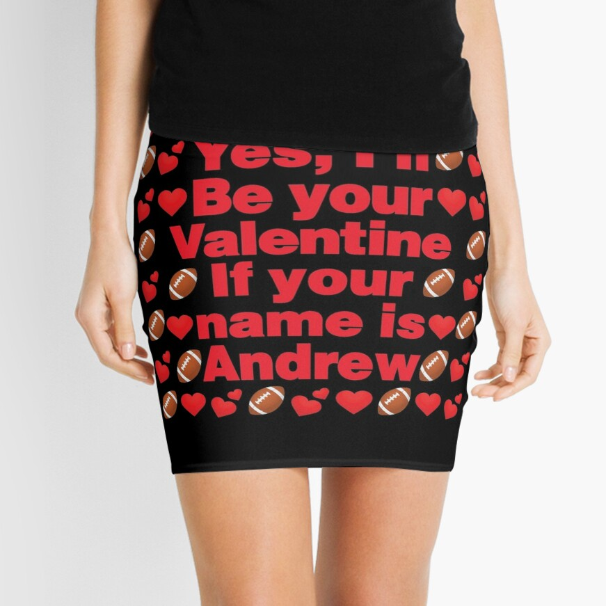 Football Emoji Be Your Valentine if your Name is Andrew Mini Skirt