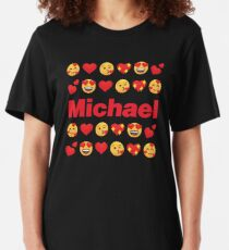 Michael Emoji My Love for Valentines day Slim Fit T-Shirt