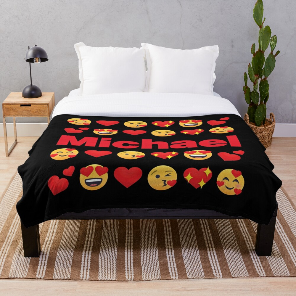 Michael Emoji My Love for Valentines day Throw Blanket