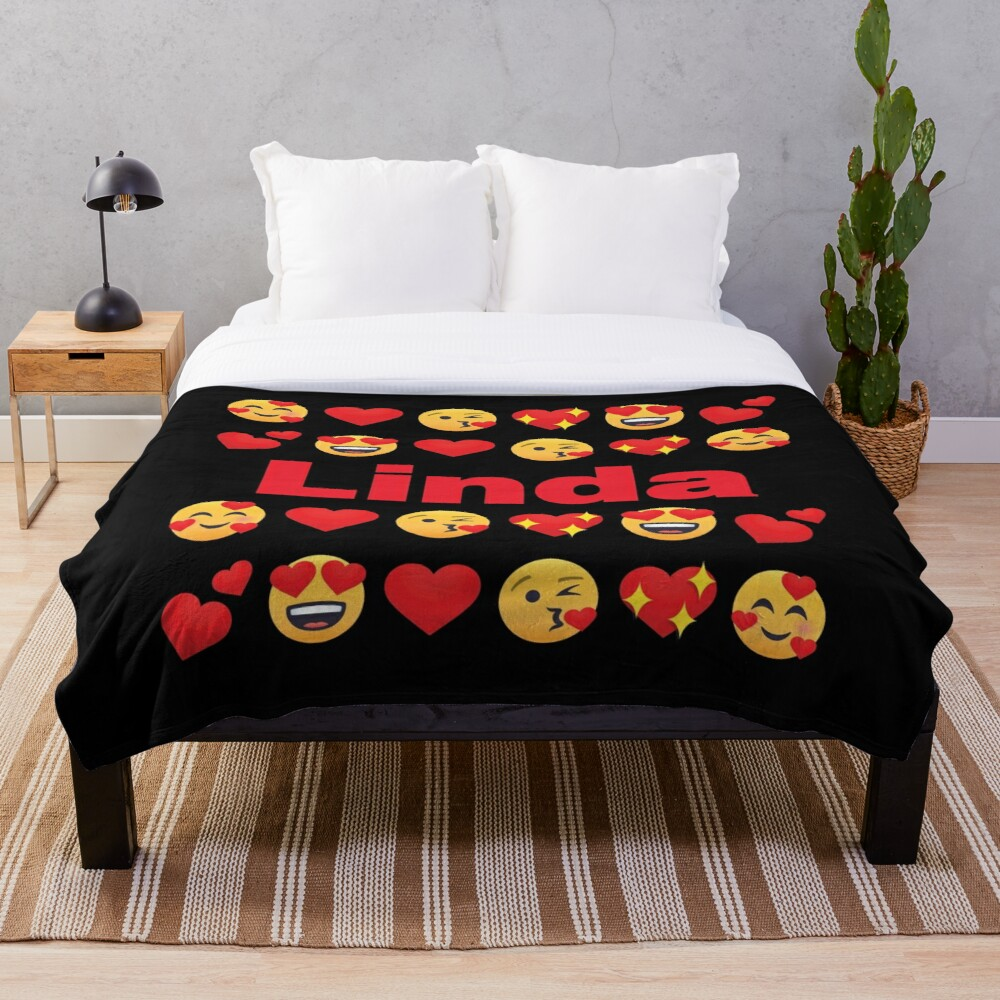 Linda Emoji My Love for Valentines day Throw Blanket