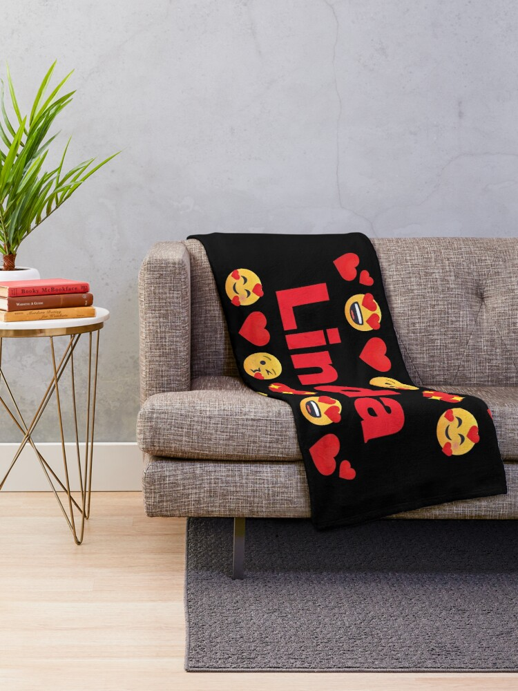 Alternate view of Linda Emoji My Love for Valentines day Throw Blanket