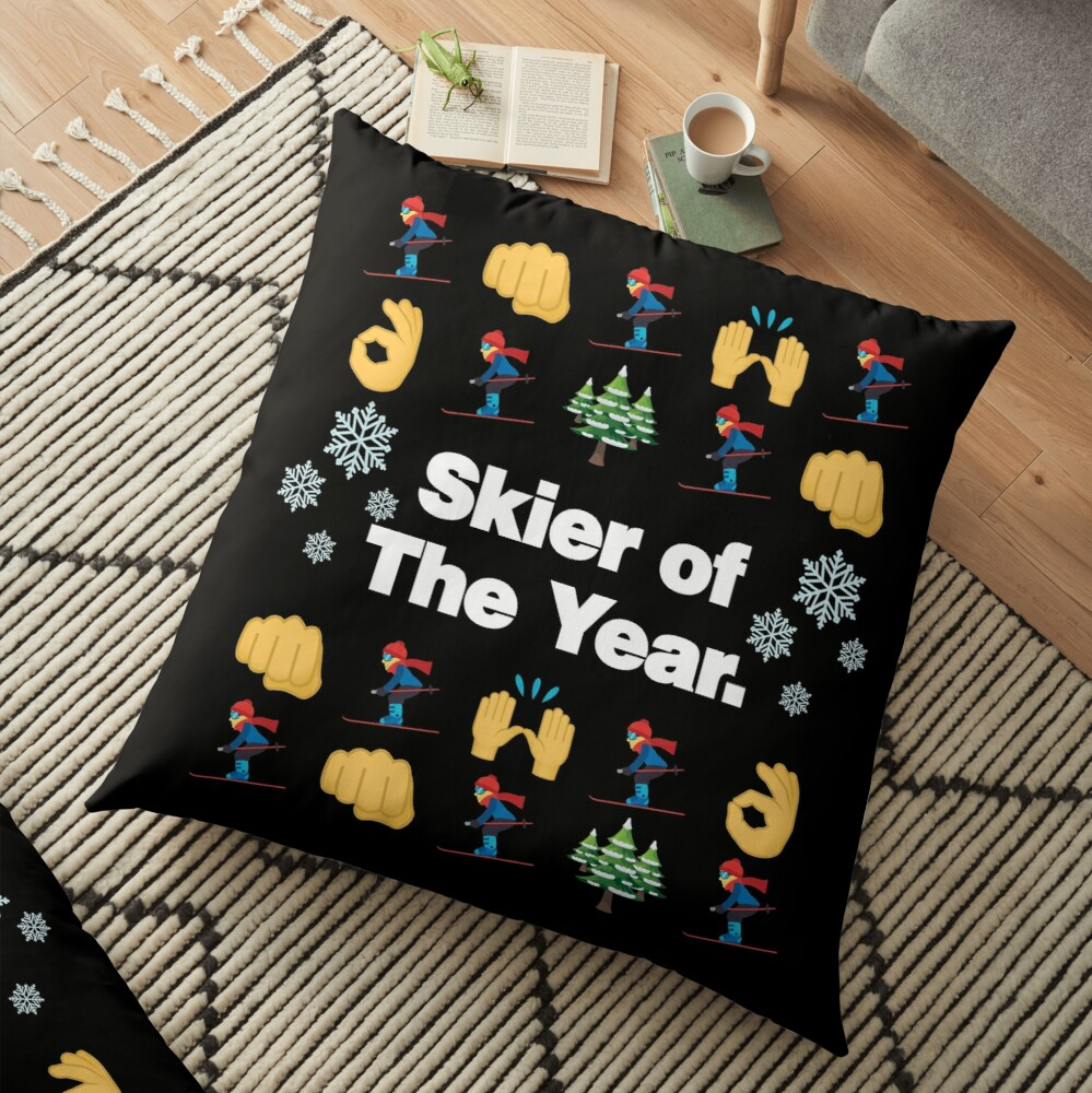 Skier of The Year Emoji Funny Skiing Saying Floor Pillow