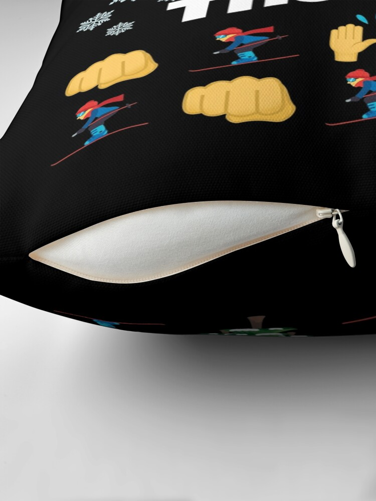 Alternate view of Skier of The Year Emoji Funny Skiing Saying Floor Pillow