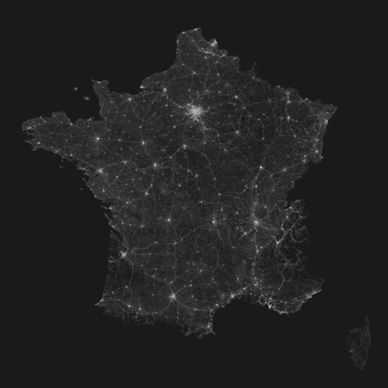 Roads of France. (White on black) von Graphical-Maps