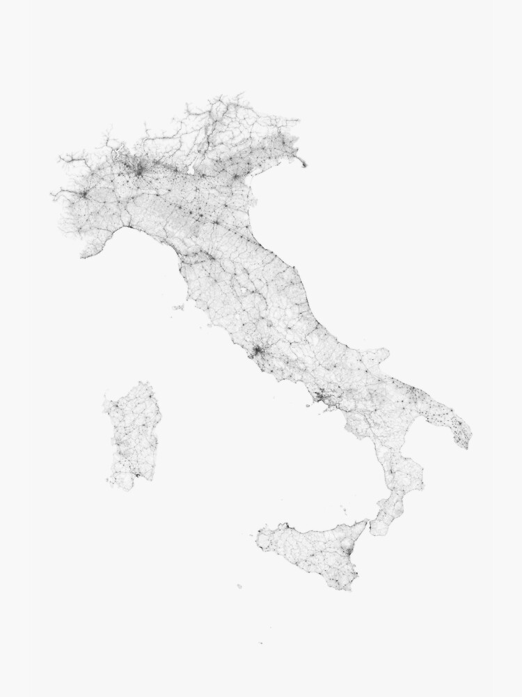 Map Of Italy Black And White.Roads Of Italy Black On White Poster