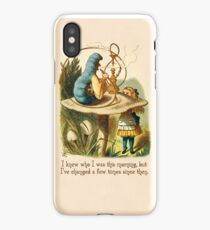 Alice in Wonderland Quote -  I Knew Who I Was - Caterpillar Quote - 0235 iPhone Case/Skin