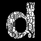 Small Letter D, black background by Julie Hartman