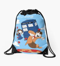 Clara and Doctor travel with Tardis Drawstring Bag