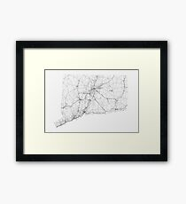 Roads of Connecticut. (Black on white) Framed Print