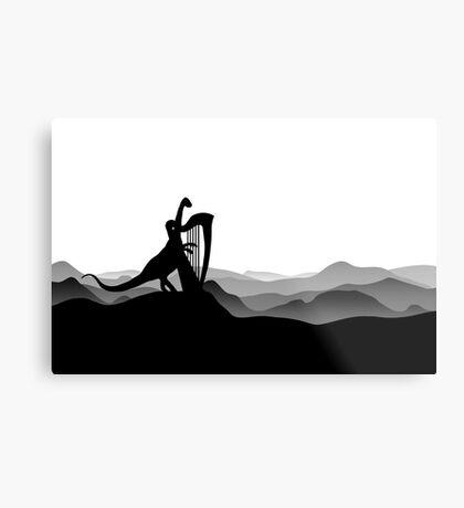 DINO MUSICIAN - Dinosaur with Harp - Dino Collection Metal Print
