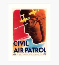 Civil Air Patrol ~ Vintage World War 2 WWII Poster ~ Air Force Pilot ~ 0536 Art Print